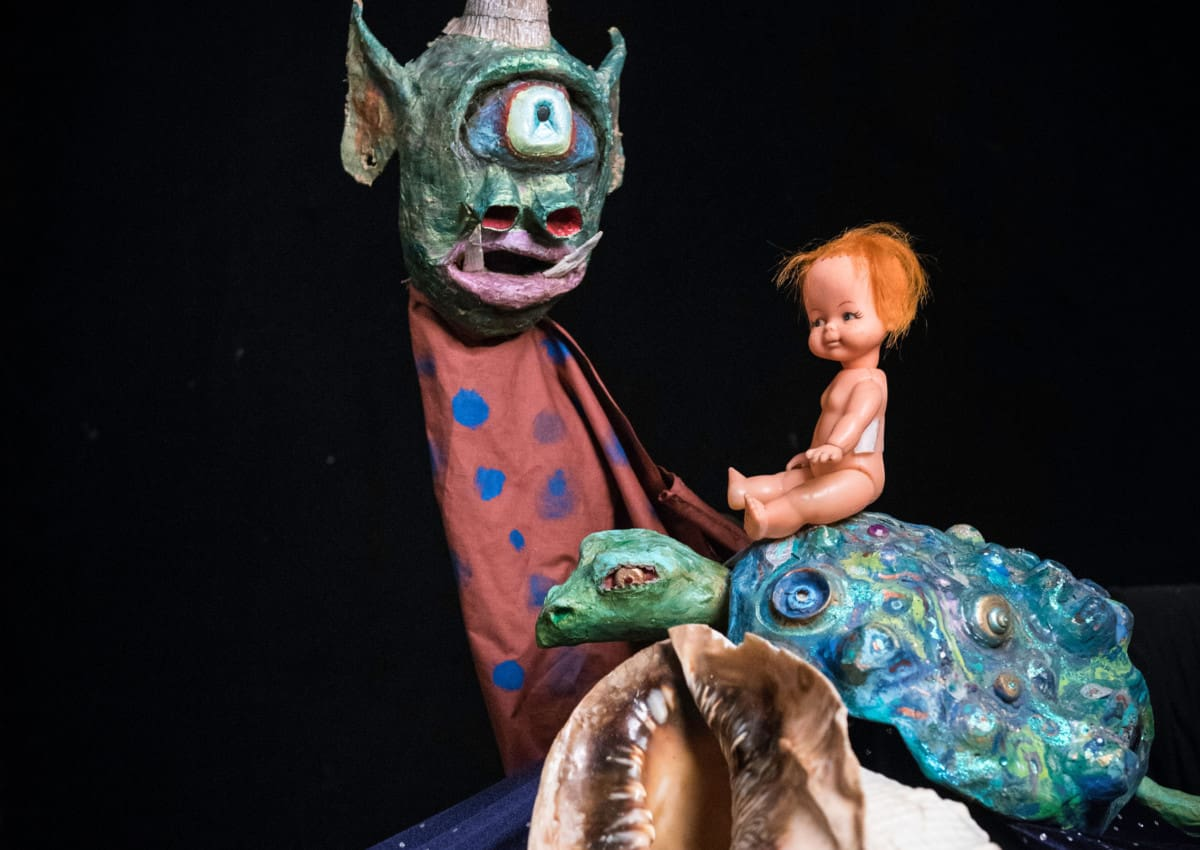 Baby Doll, turtle, monster puppets by Dhann Polnau