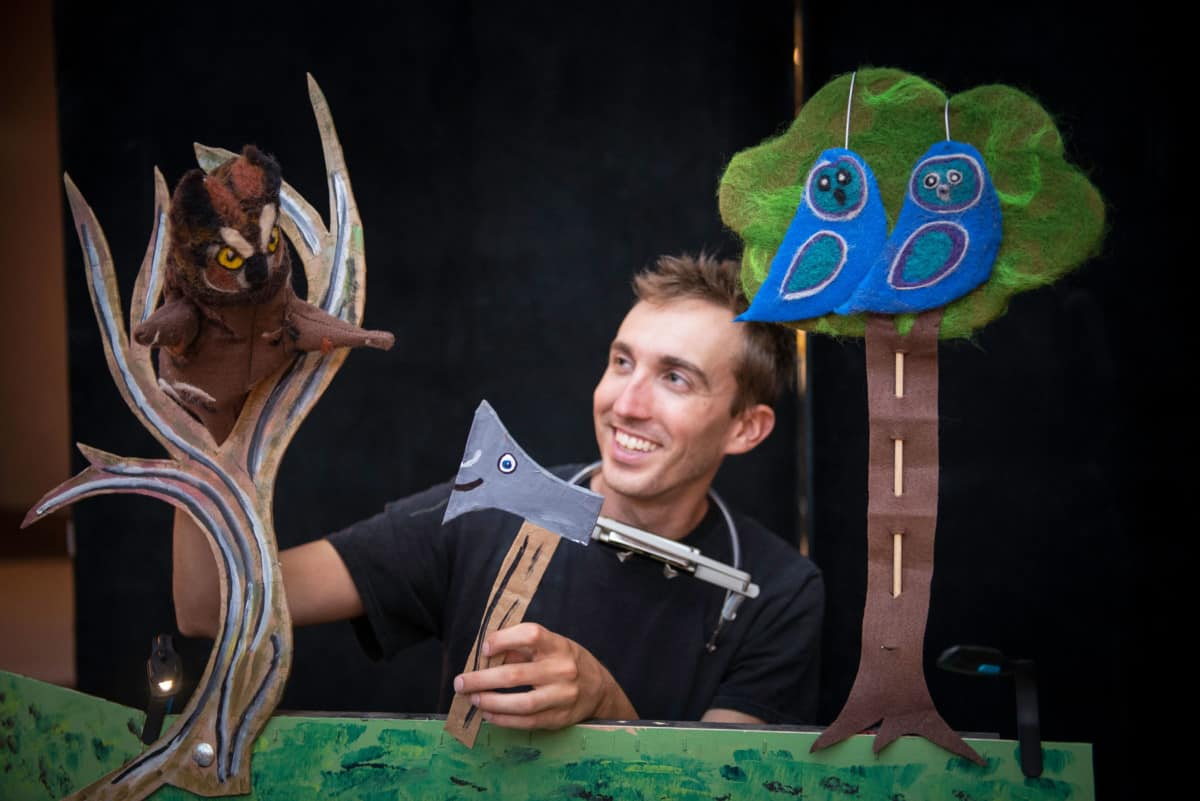 Owl, Axe, and tree puppets with Seth Eberle