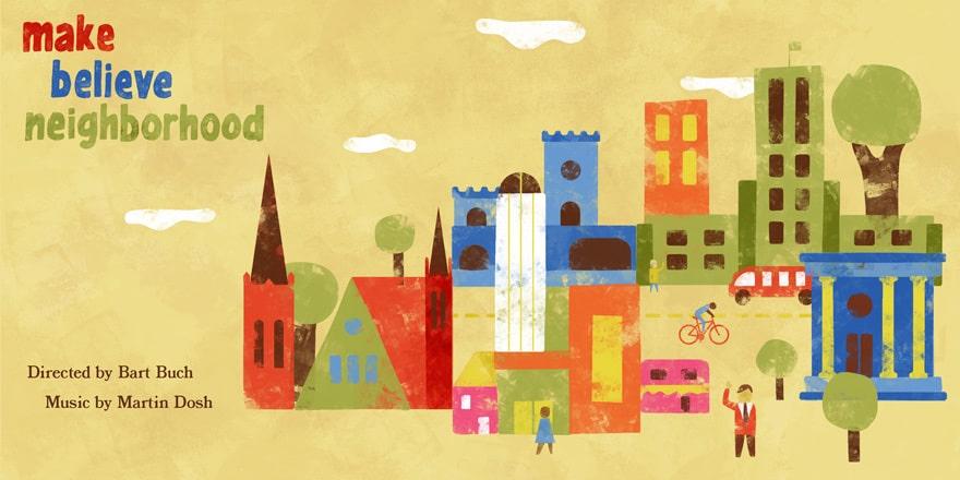 Colorful neighborhood scene featuring local buildings