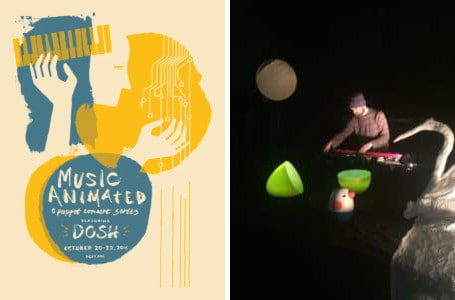 Poster for Music Animated, and photo of Dosh with a swan puppet