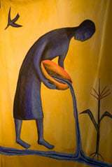 Curtain painting by Sandy Spieler