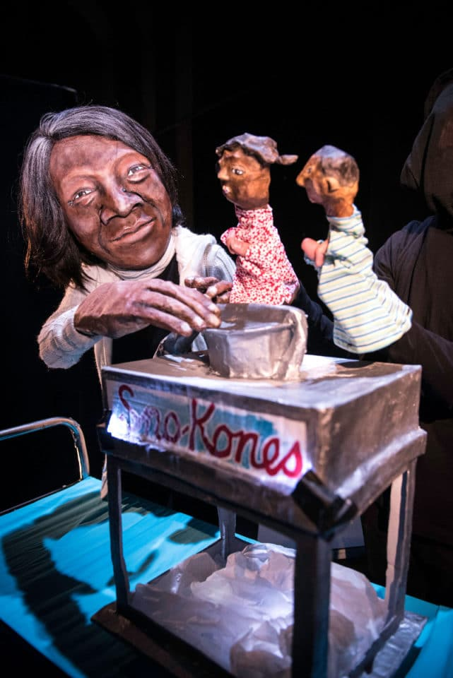 Puppets with a sno cone machine